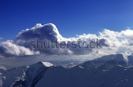 Evening sunlight mountains Stock photo © BSANI