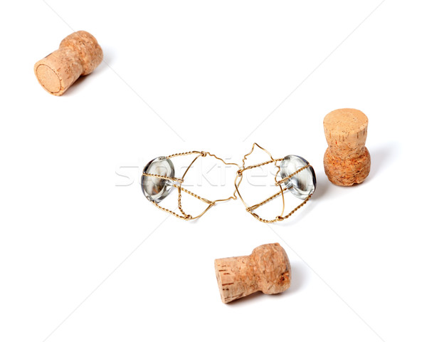 Three corks from champagne wine and muselets Stock photo © BSANI