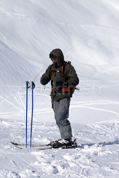 Skier on top of ski slope at nice day Stock photo © BSANI