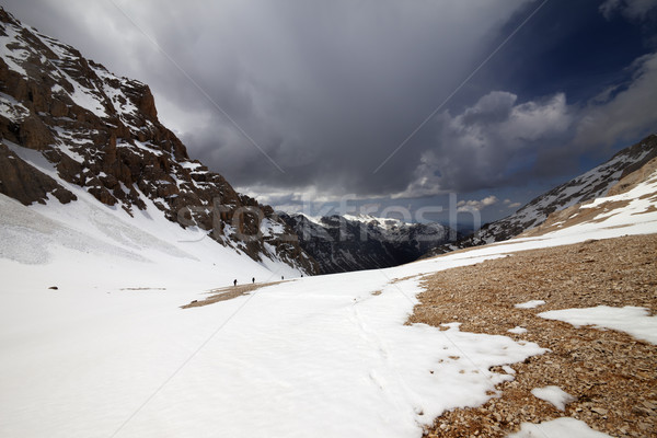 Group of hikers in snowy mountains Stock photo © BSANI