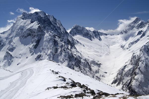 Kafkaslar dağlar gökyüzü manzara kış mavi Stok fotoğraf © BSANI