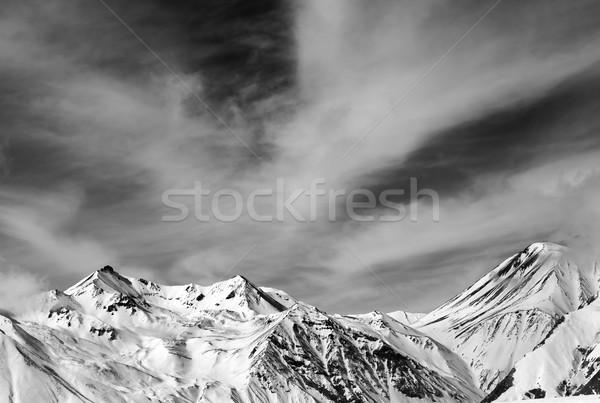黒白 山 風の強い 日 コーカサス グルジア ストックフォト © BSANI