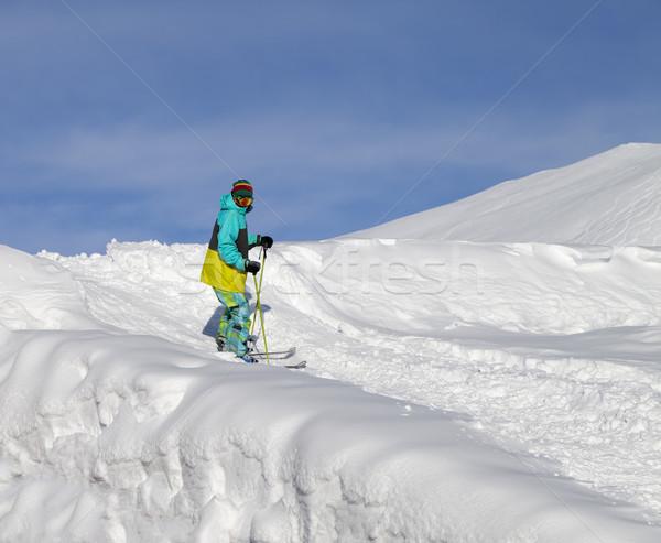 スキーヤー スロープ 太陽 日 いい 男 ストックフォト © BSANI