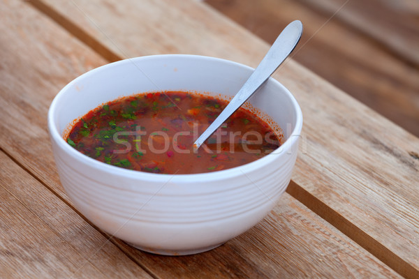 Kharcho. Spicy Georgian meat and vegetable soup. Stock photo © BSANI