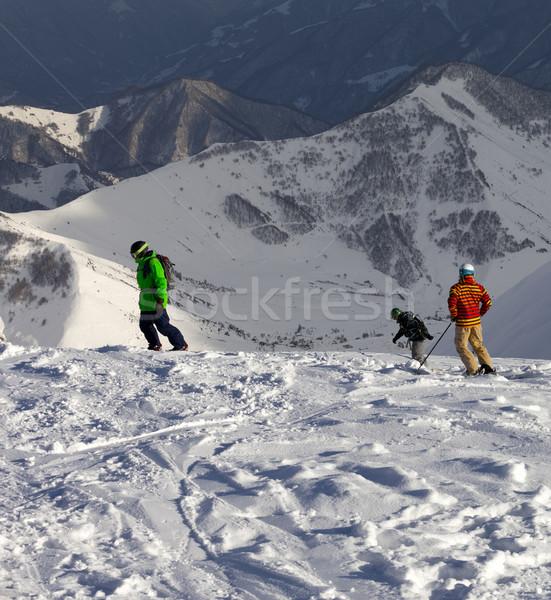 Skiër helling zon avond kaukasus bergen Stockfoto © BSANI