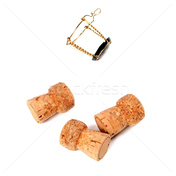 Three cork from champagne wine and muselet Stock photo © BSANI