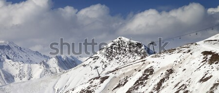 Off-piste slope and chair-lift in little snow year. Panoramic vi Stock photo © BSANI