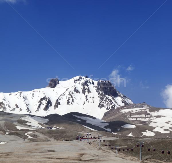 Stock photo: Ski resort in spring at nice sun day