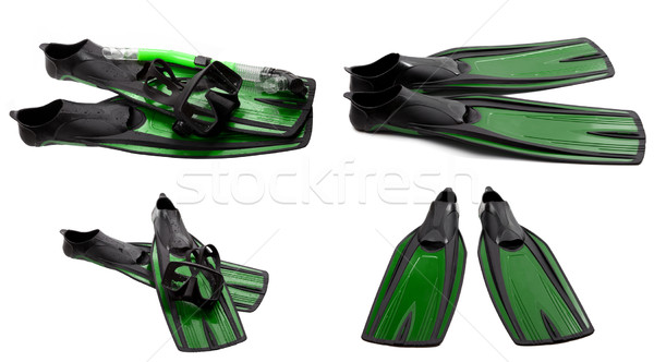 Set of green swim fins, mask and snorkel for diving Stock photo © BSANI