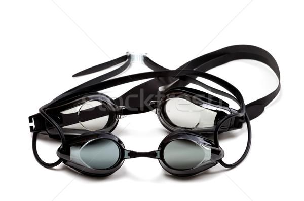 Dos negro gafas de protección natación aislado blanco Foto stock © BSANI