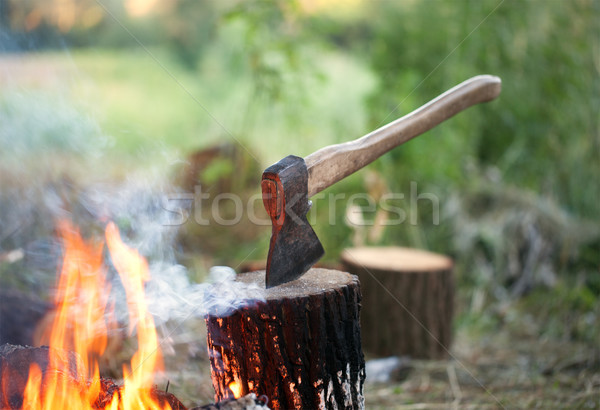 Axe in tree stump and campfire with smoke Stock photo © BSANI
