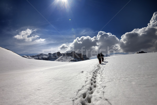 Two hikers on snow plateau Stock photo © BSANI
