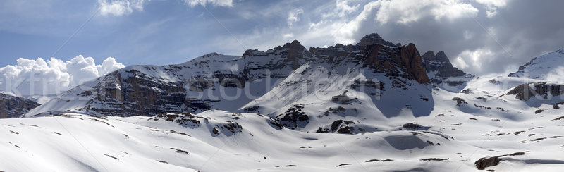 Panorama of snowy mountains Stock photo © BSANI