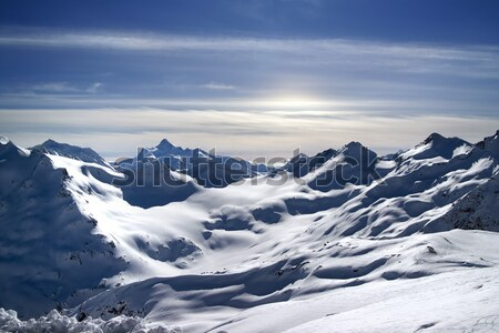 Stock photo: Caucasus Mountains. View from Elbrus in evening.