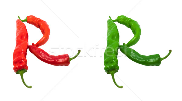 Letter R composed of green and red chili peppers Stock photo © BSANI