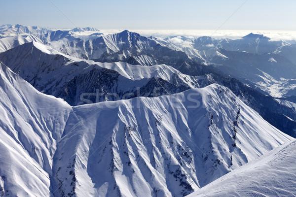 ストックフォト: 表示 · コーカサス · 山 · グルジア · スキー