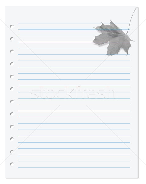 Notebook paper with maple-leaf at background Stock photo © BSANI