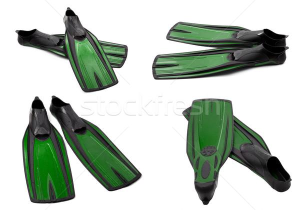 Ingesteld groene zwemmen duiken geïsoleerd witte Stockfoto © BSANI