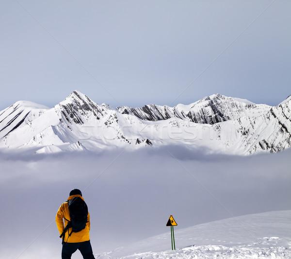 Mgły ostrzeżenie śpiewać kaukaz góry Zdjęcia stock © BSANI