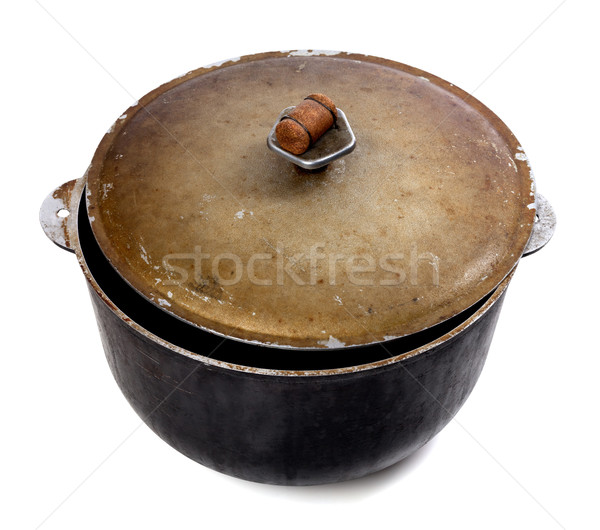 Old dirty big pot on white background Stock photo © BSANI