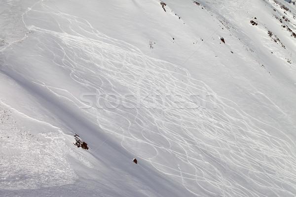 Tracks on ski slope, freeriding Stock photo © BSANI