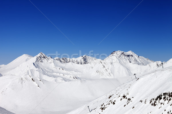 Ropeway and off-piste slope. Caucasus Mountains, Georgia. Stock photo © BSANI