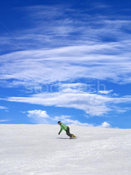Snowbordos sípálya kék ég felhők szép nap Stock fotó © BSANI