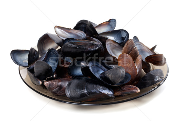Stock photo: Shells of mussels on glass plate