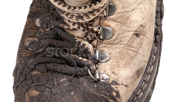 Part of old dirty trekking boot Stock photo © BSANI