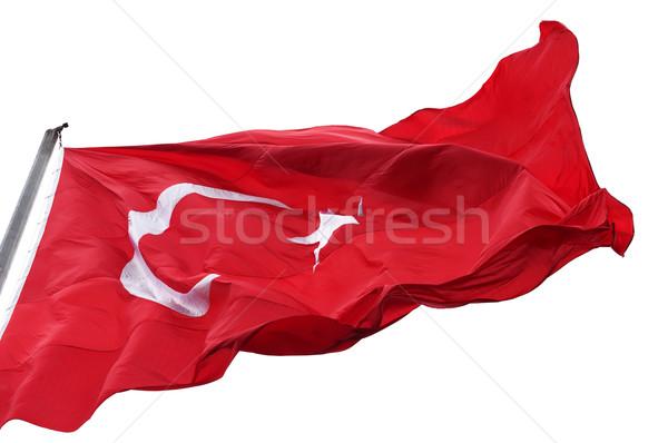 Сток-фото: турецкий · флаг · ветер · изолированный · белый