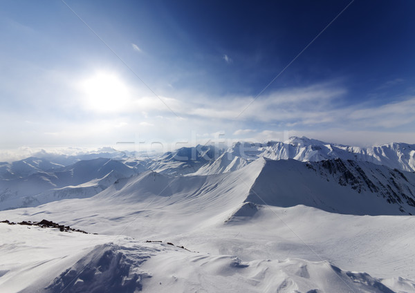 View on off-piste slope and sky with sun Stock photo © BSANI