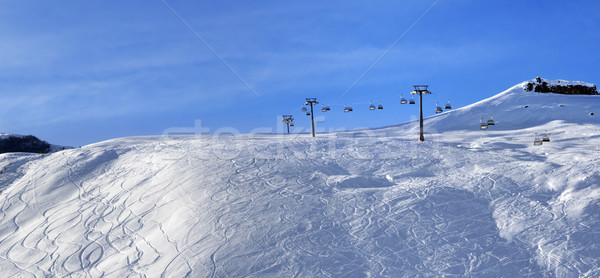 Panoramic view on sunlight off-piste slope at morning Stock photo © BSANI
