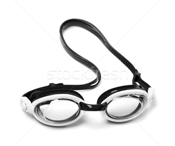 Preto e branco óculos de proteção natação isolado branco verão Foto stock © BSANI
