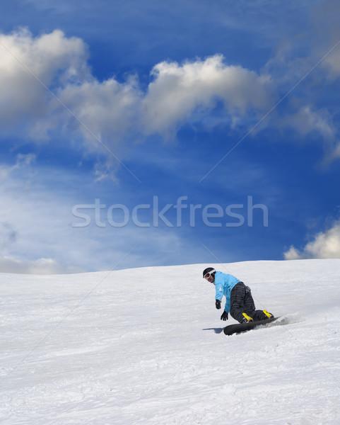 Snowbordos sípálya szép napos idő sport természet Stock fotó © BSANI