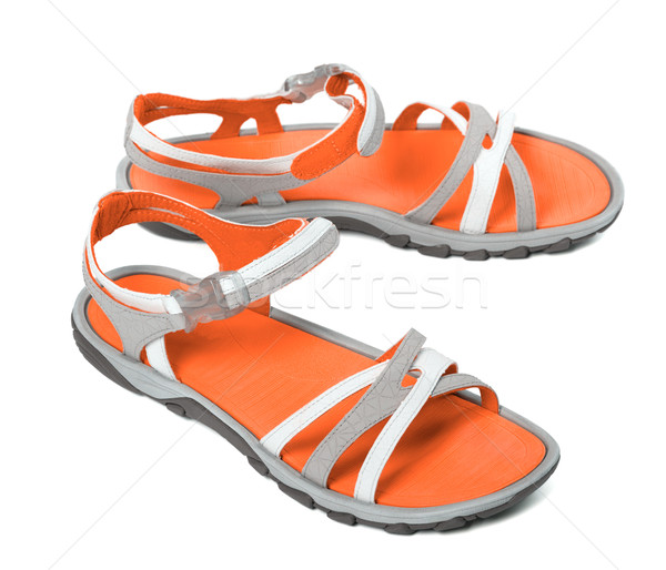 Pair of summer sandals on white background Stock photo © BSANI