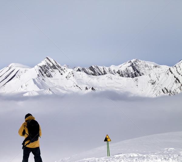 Freerider on off-piste slope in mist Stock photo © BSANI