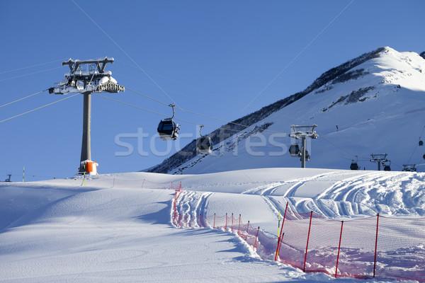 Gondola lift on ski resort at sun day Stock photo © BSANI