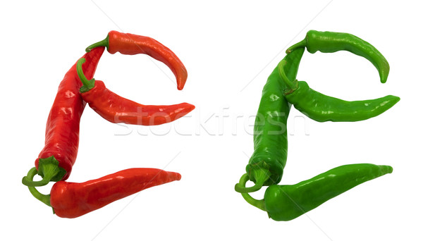 Letter E composed of green and red chili peppers Stock photo © BSANI