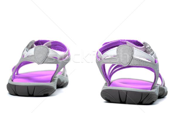 Verano sandalias vista posterior aislado blanco playa Foto stock © BSANI