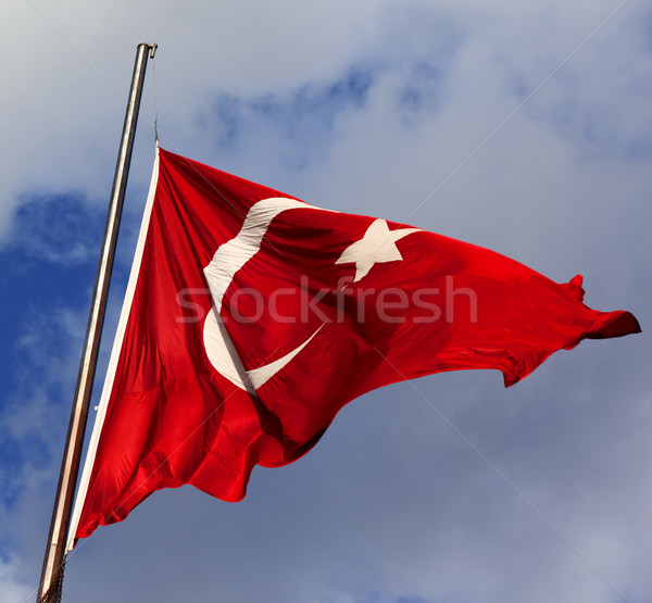 Turkish flag on flagpole Stock photo © BSANI
