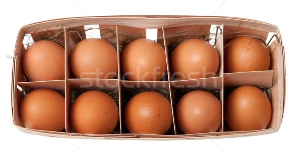 Marrón huevos eco cuadro aislado blanco Foto stock © BSANI