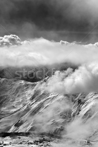 Black and white view on ski resort in mist Stock photo © BSANI