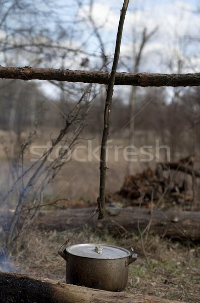 Cozinhar velho caldeirão fogueira floresta fogo Foto stock © BSANI