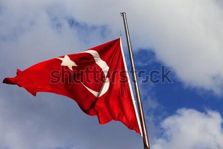 турецкий флаг флагшток ветреный солнце день Сток-фото © BSANI