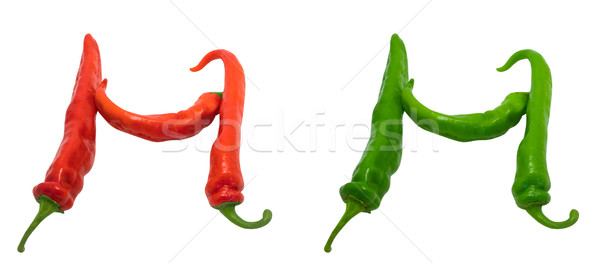 Letter H composed of green and red chili peppers Stock photo © BSANI