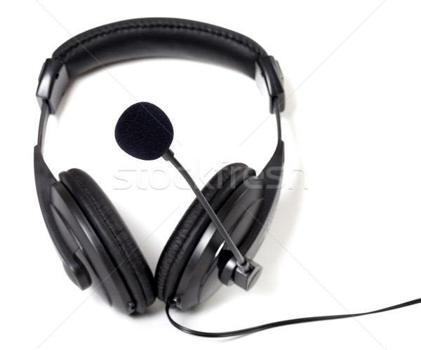 Headphones with microphone on white background. Stock photo © BSANI