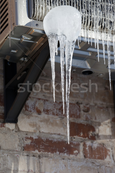 Icicle on icy air conditioner Stock photo © BSANI