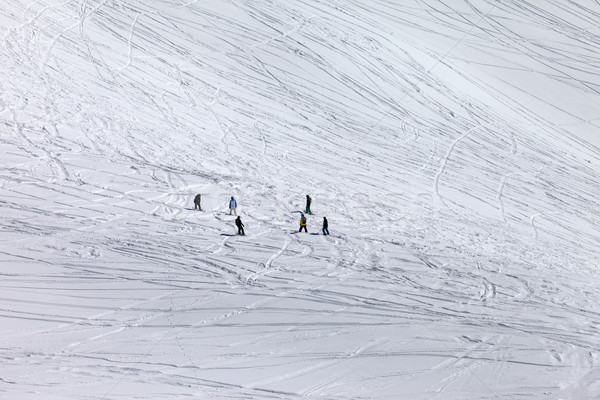 Snowboarders and skiers on off piste slope Stock photo © BSANI