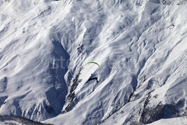 Speed riding in winter mountains at sun day Stock photo © BSANI