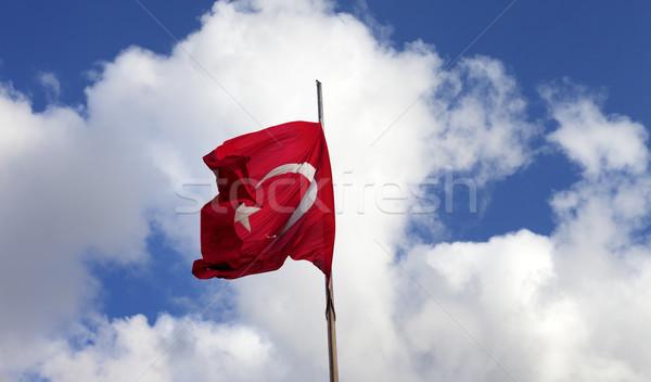 Turco bandera asta de bandera viento Foto stock © BSANI